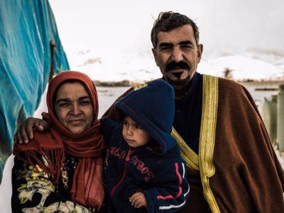 Refugee family in Greece
