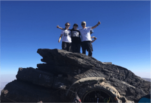 Innes family, having reached the top of the third peak of their community fundraising challenge