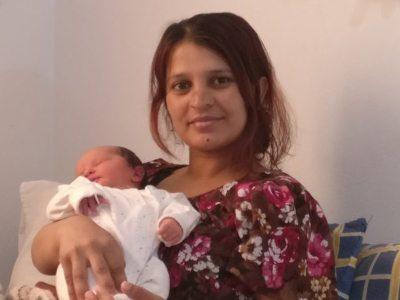 Ragida and baby Elena, refugee family in LM Village