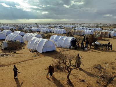 Climate change and drought exacerbated the famine in Somalia; pictured here is Dadaab camp, Kenya, where many Somali refugees now live.