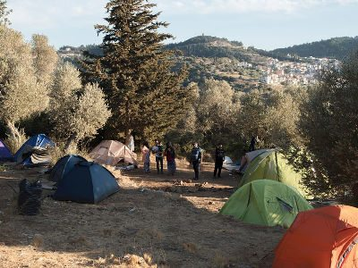 Makeshift camp on Samos, Greek islands, November 2017