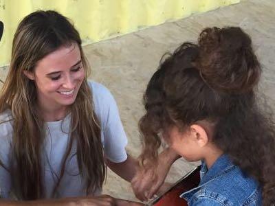Volunteer in refugee camp