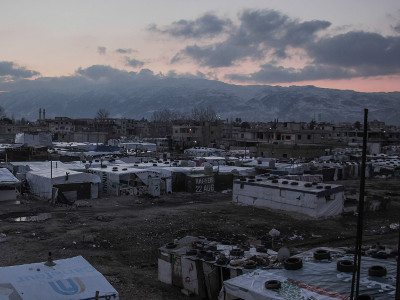 A refugee camp in the Beqaa Valley, Lebanon.