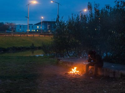 Sammy, from Ethiopia, has been - like this man, and approximately 800 others - sleeping rough in the area around Calais. Photo: Futuro Berg.