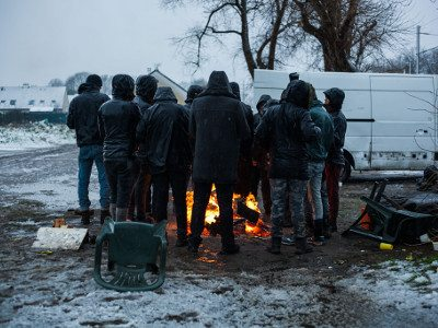 """The cold ground, the hard ground..."" Calais, Winter 2017. Photo: Futuro Berg."