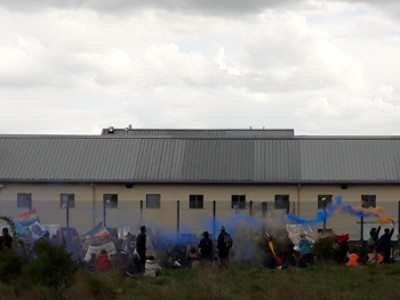 Protestors surround Yarl's Wood, a notorious immigration detention centre.