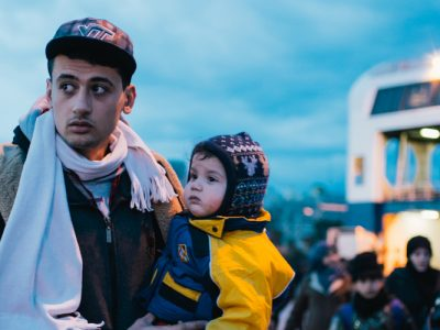 Refugee father and son
