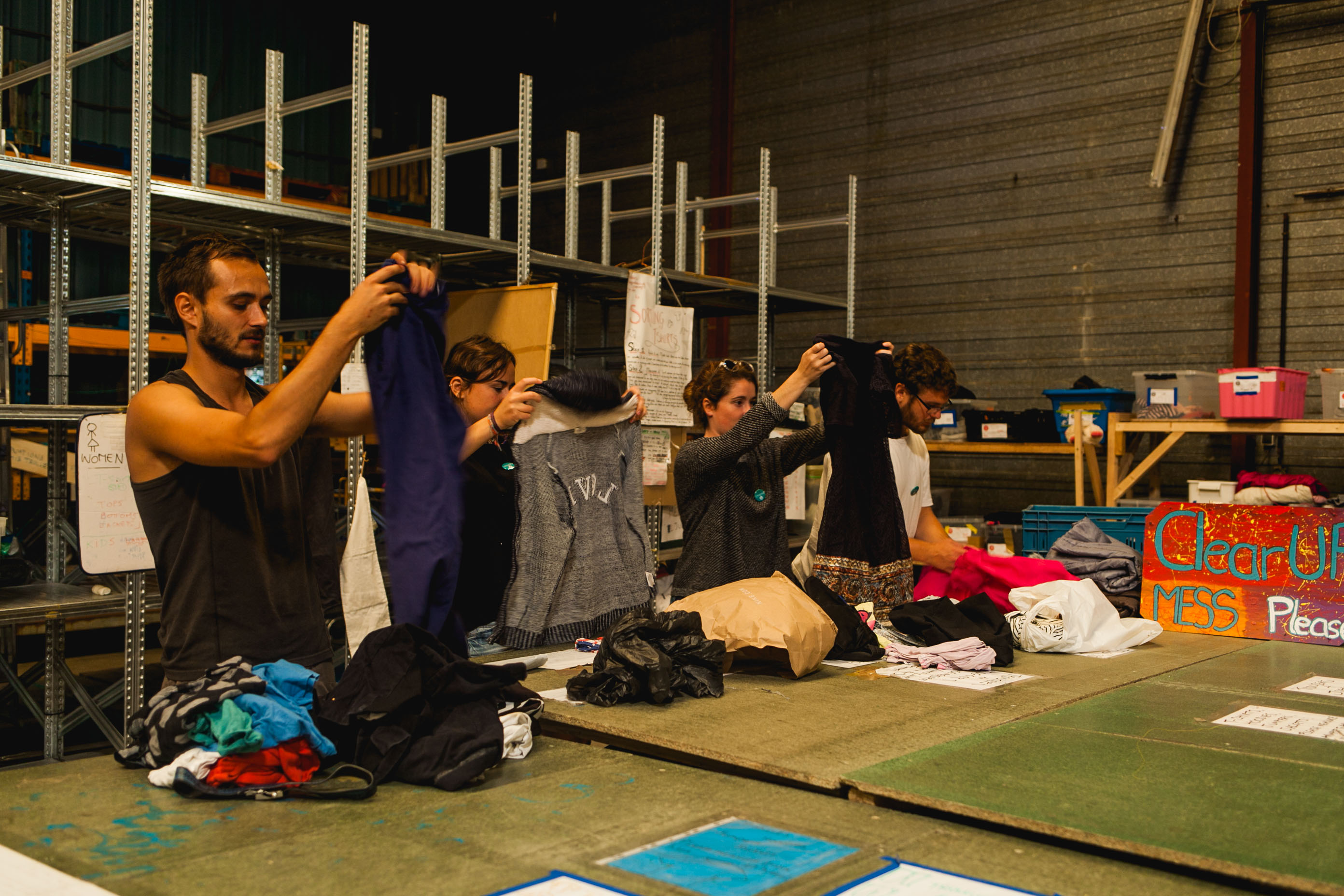 Calais volunteers sort clothes