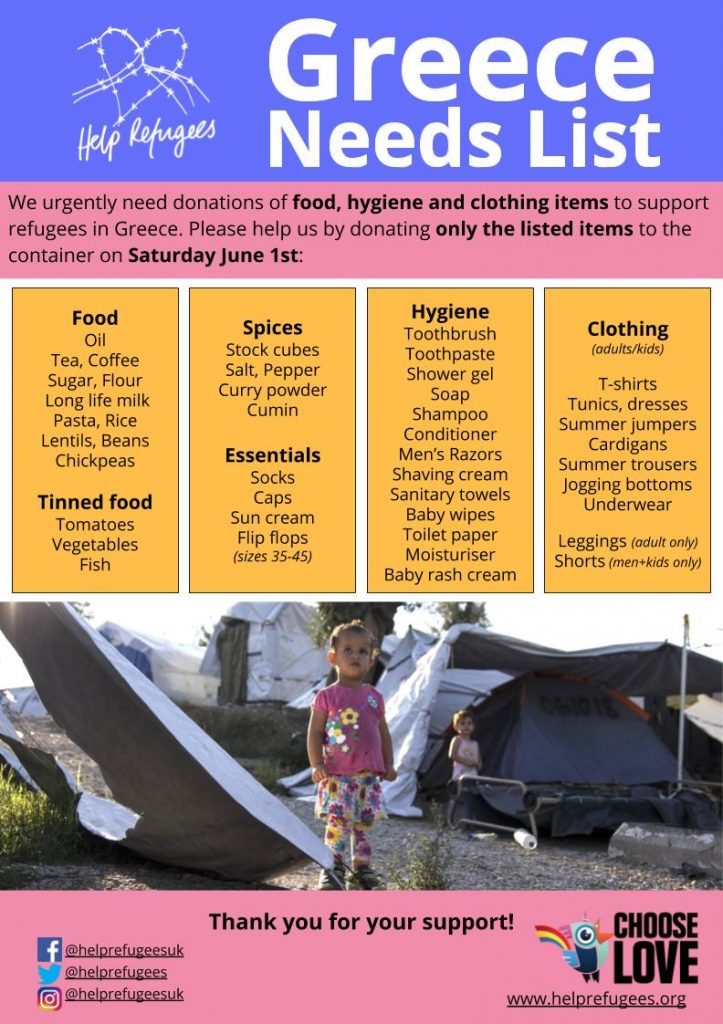 Greece container donations Needs List