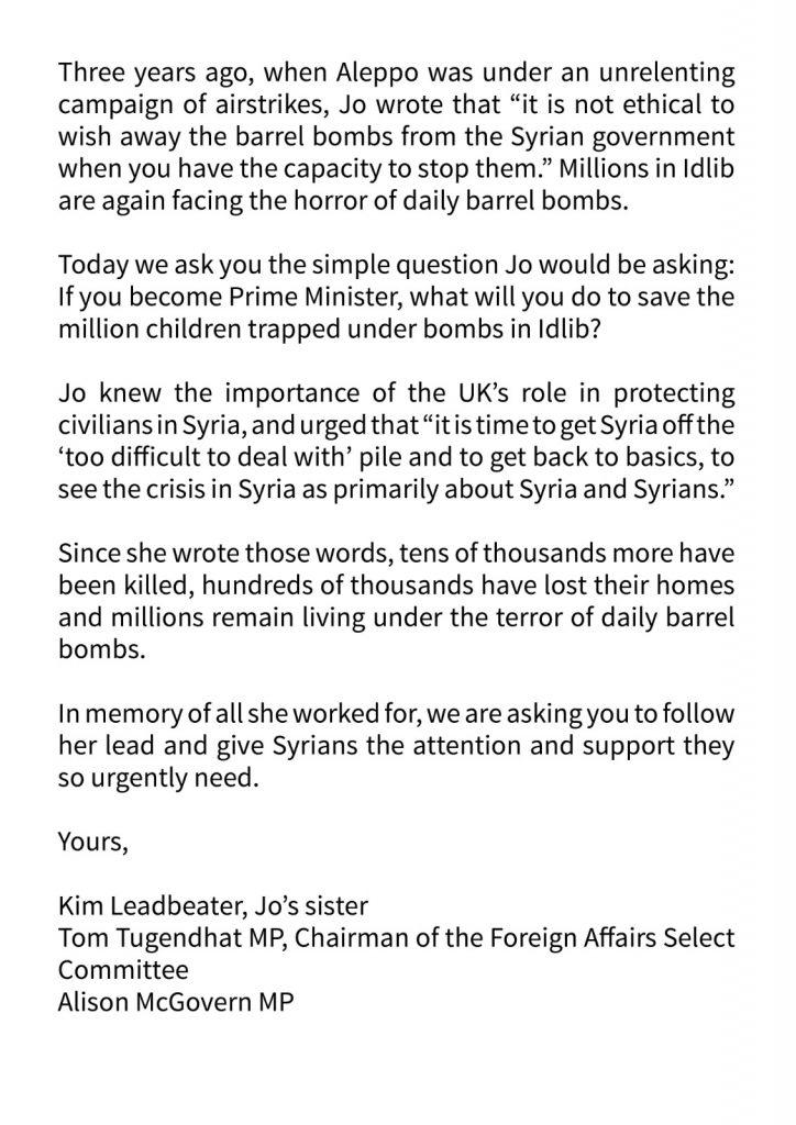Kim Leadbeater #SaveIdlib Letter