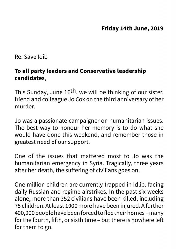Kim Leadbeater #SaveIdlib Letter