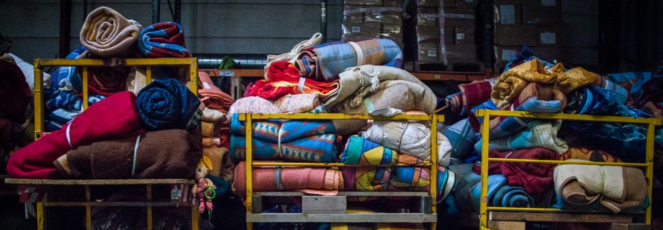Blankets in NGO warehouse