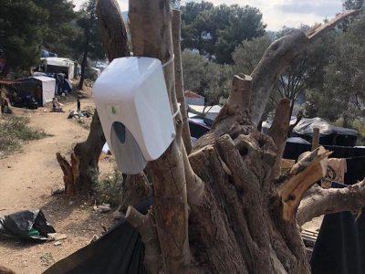 Hand sanitizer on Samos