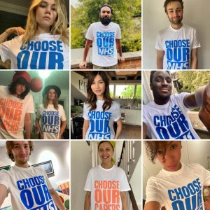 Celebrities wearing Choose our NHS and Choose our Carers
