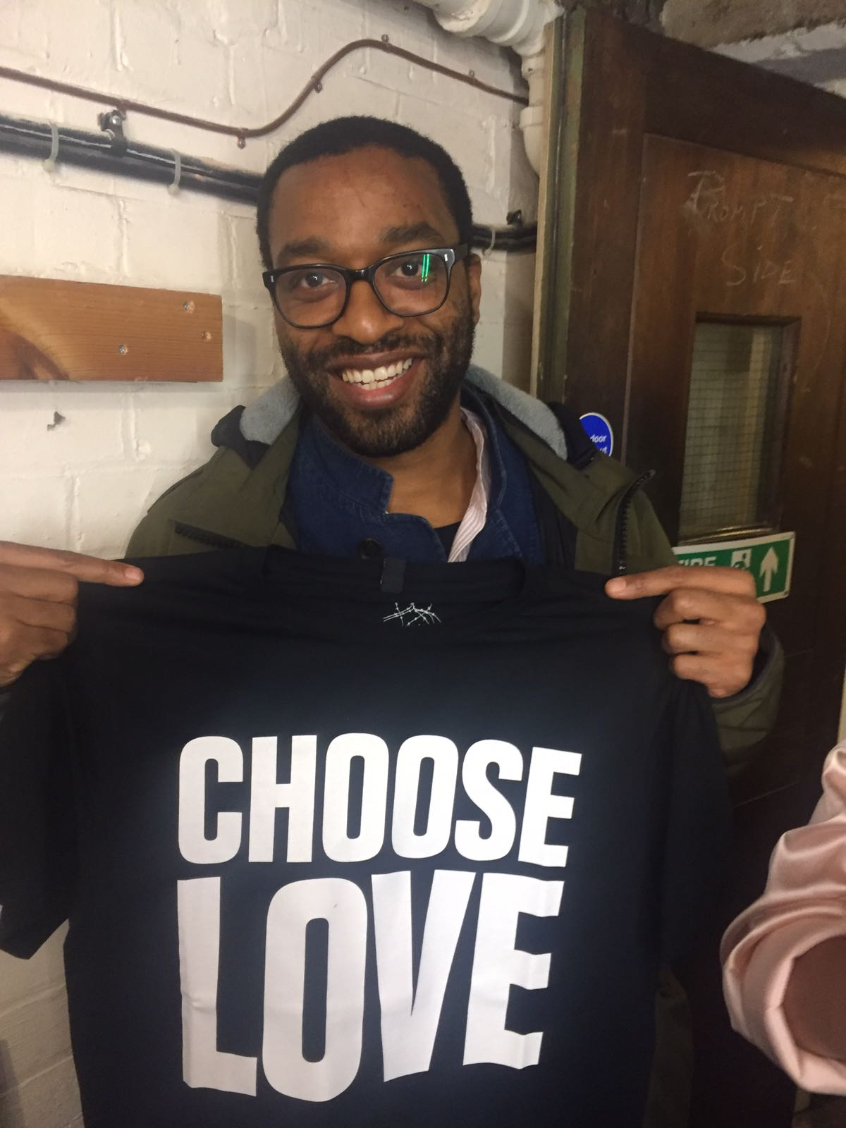 Chiwatel Ejiofore wears Choose Love