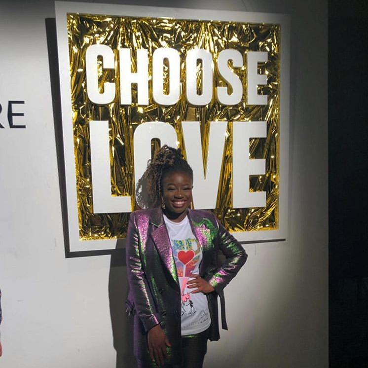 Clara Amfo wears Choose Love