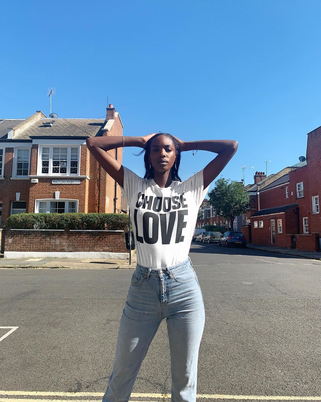 Layla Powell wears Choose Love