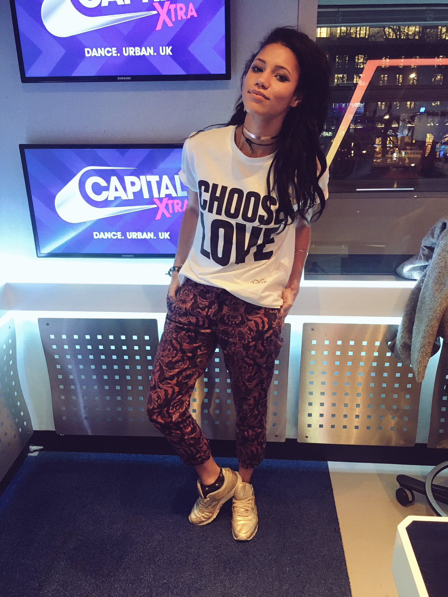 Vick Hope wears Choose Love