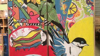 Colourful Mural in the Calais Warehouse
