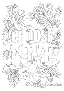 Choose love colouring in sheet